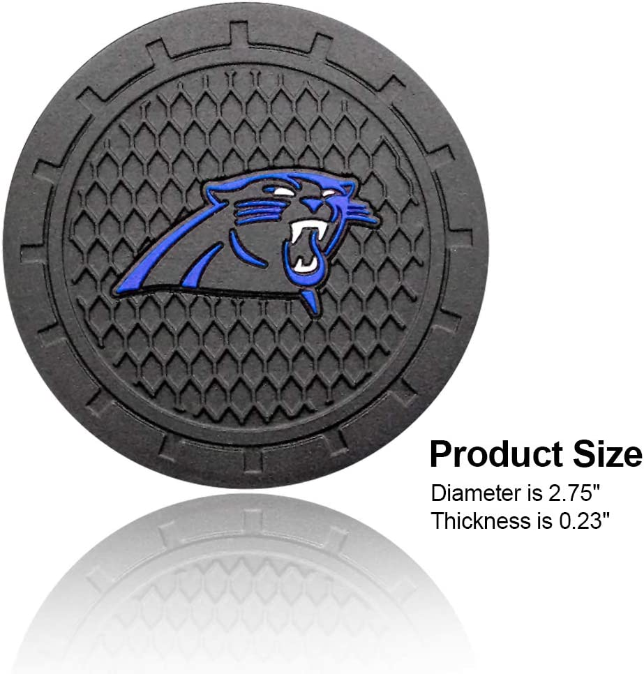 Wall Stickz wesport 2.75 Inch Diameter Oval Tough Car Logo Vehicle Travel Auto Cup Holder Insert Coaster Can 2 Pcs Pack Carolina Panthers
