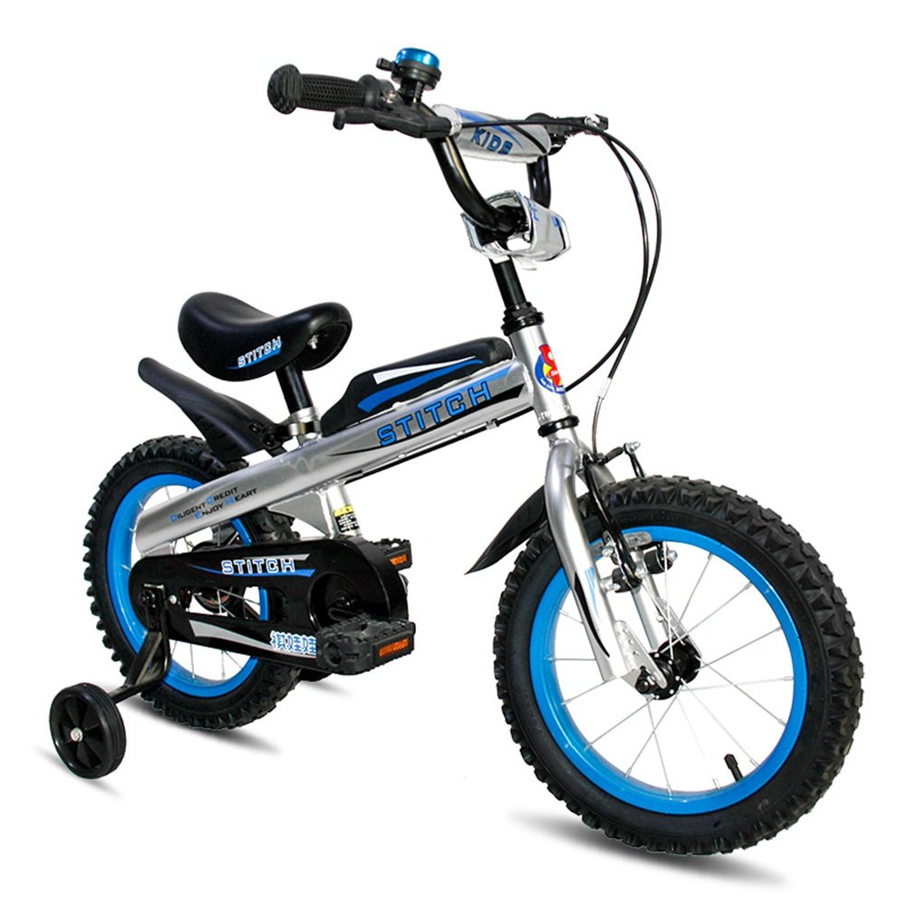 YANGFEI 子ども用自転車 ROYAL BABY BUTTONSフリースタイルのBMXキッズバイク12,14,16インチ重い脱着式スタビライザー。 212歳 B07DWW95XF 14Inch|青 青 14Inch