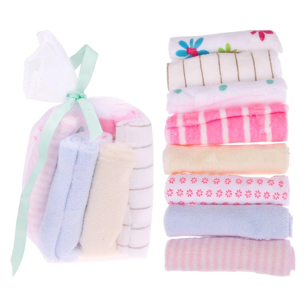 Baby Feeding Towel, 8pcs Cotton Handkerchiefs Headband Feeding Wipe Cloth