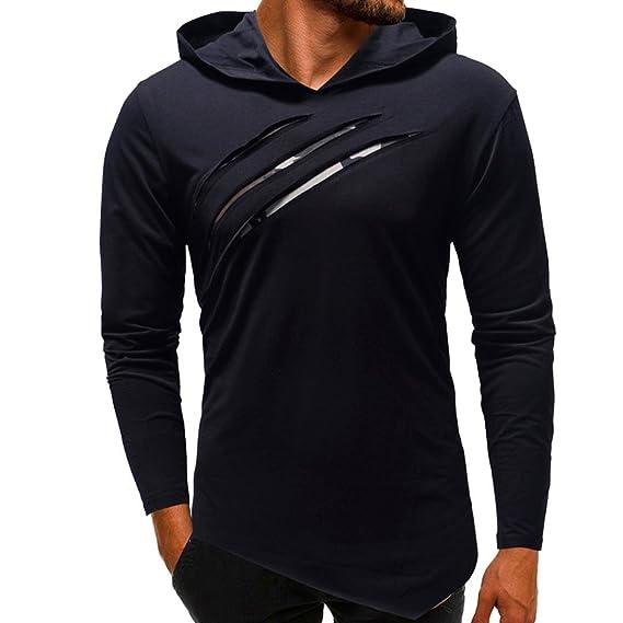 Puro Color Camuflaje Puntadas Capucha Manga Larga Blusa Superior De La Camisa De Los Hombres Gym