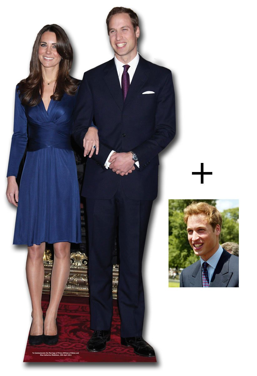 Commemorative Pack Prince William and Kate Middleton - British Royal Wedding 2011 - Lifesize Cardboard Cutout / Standee / Standup - Includes 8x10'' Prince William Photo