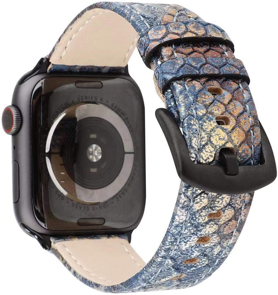Sufcusny Snake Skin Pattern Genuine Leather Watchband Strap Fashionable Wristband Replacement Compatible with 40mm 38mm Apple Watch Series 5/4/3/2/1, Blue