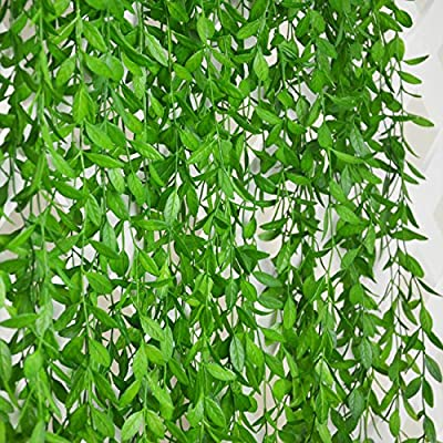 6 Bunches Green Artificial Silk Hanging Vine Plant Willow Leaves for Home Garden Outdoor Wall Decoration