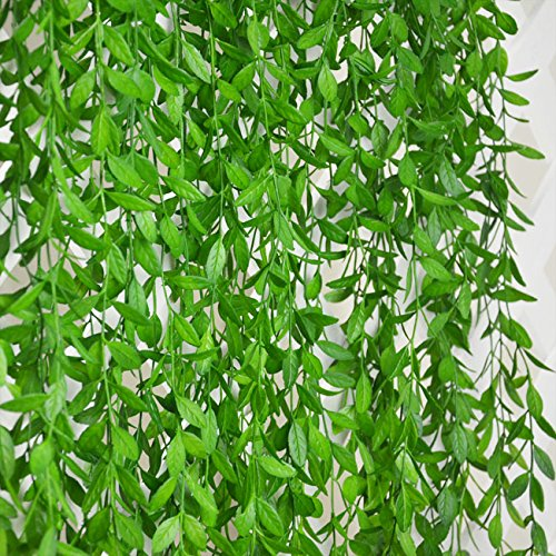 6 Bunches Green Artificial Silk Hanging Vine Plant Willow Leaves for Home Garden Outdoor Wall Decoration - Hanging Vine