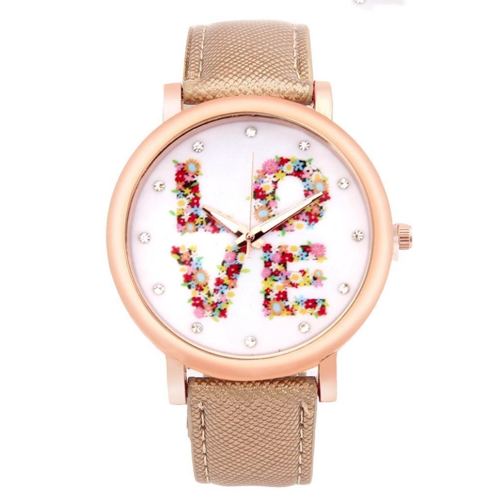 Ouneed® Uhren, Mode Liebes Muster Leder Band Analog Quarz Uhren Vogue (Gold)
