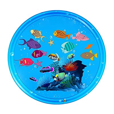 Kids Water Spray Pad Water Playing Games Pad Mat Lawn Inflatable Water Sprinkle Cushion Eco-Friendly PVC Swimming Pool Above Ground Toy Kids Water Play Fun: Sports & Outdoors