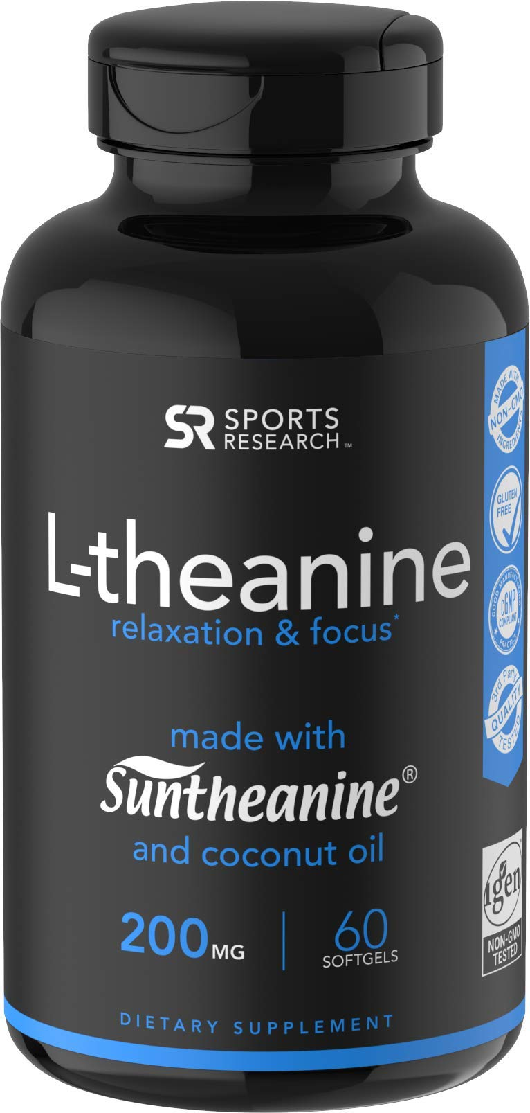 Suntheanine® L-Theanine 200mg (Double-Strength) in Cold-Pressed Organic Coconut Oil; Non-GMO & Gluten Free - 60 Liquid Softgels by Sports Research