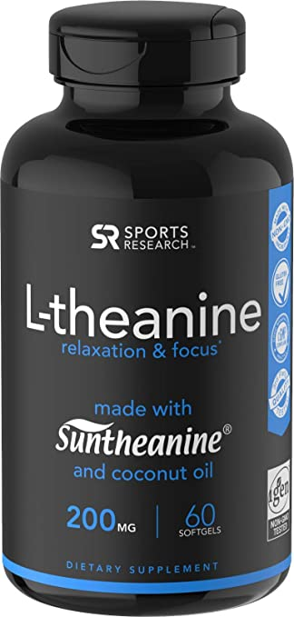 Suntheanine® L Theanine 200mg (Double Strength) In Cold Pressed Organic Coconut Oil; Non Gmo & Gluten Free   60 Liquid Softgels by Sports Research
