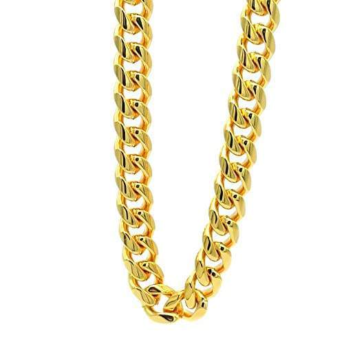 be43bf1cfea72 TUOKAY 18K Heavy Big Gold Chain Necklace,16mm 30 Inch Long Big Fake Gold  Rapper Chain, Shiny 90s Punk Style Hip Hop Chain Necklace for School Rapper  ...