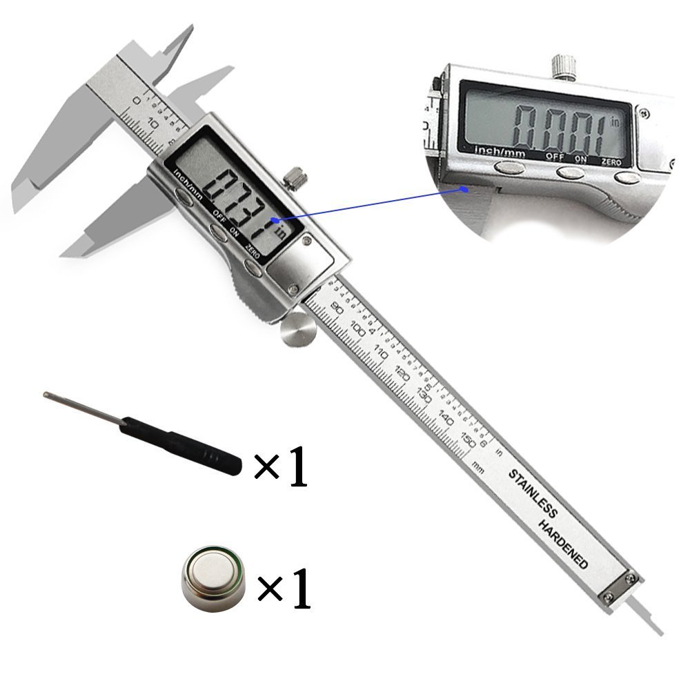 EpicDealz Digital Caliper - Electronic Vernier Caliper Inch/Metric/Fractions Conversion 6''/150mm General Stainless Steel Measuring Tool with Extra Large LCD Screen - Auto Off Precision Measurement