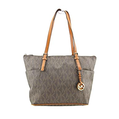 9cf4eb7b4fb2 Amazon.com  MICHAEL Michael Kors Jet Set East West Top Zip Tote in Signature  Brown  Michael Kors  Clothing