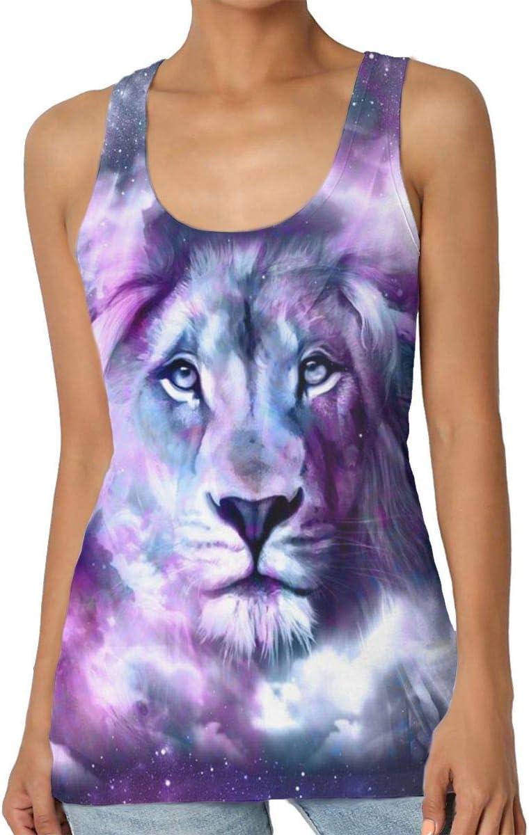 Henrnt Camisetas Sin Manga Mujer/Chaleco,Verano Camiseta Tirantes, Lion Galaxy Sky Women Tank Top T-Shirt Cool Sleeveless Sport Vest Racerback