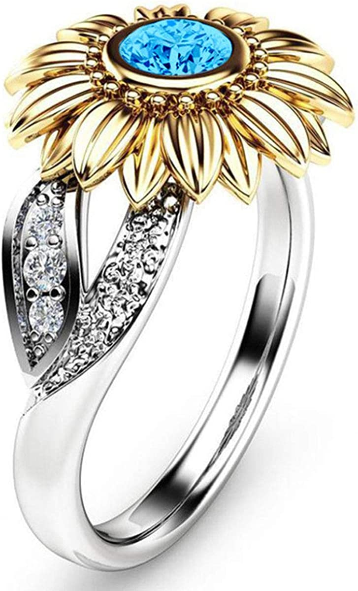 Kebaner Sunflower Flower Cubic Zirconia Band Gold Floral Leaf Rings for Women Girls Wedding Party Jewelry