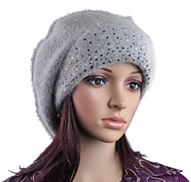 fd19b1781f0 LOCOMO Women Girl Slouchy Bling Stone Fluffy Knit Beanie Crochet Rib Pom  Pom Hat Cap Winter