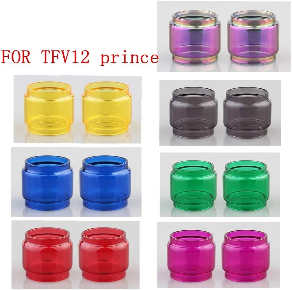 RUIYITECH 2 Tubos de Vidrio para SMOK TFV12 Prince Foco de Repuesto Tanque Pyrex Tubo de Vidrio Azul
