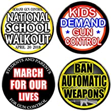 """Pack-4 Gun Control Protest Pin-Back Buttons, Select Size 2.25"""" or 3"""""""