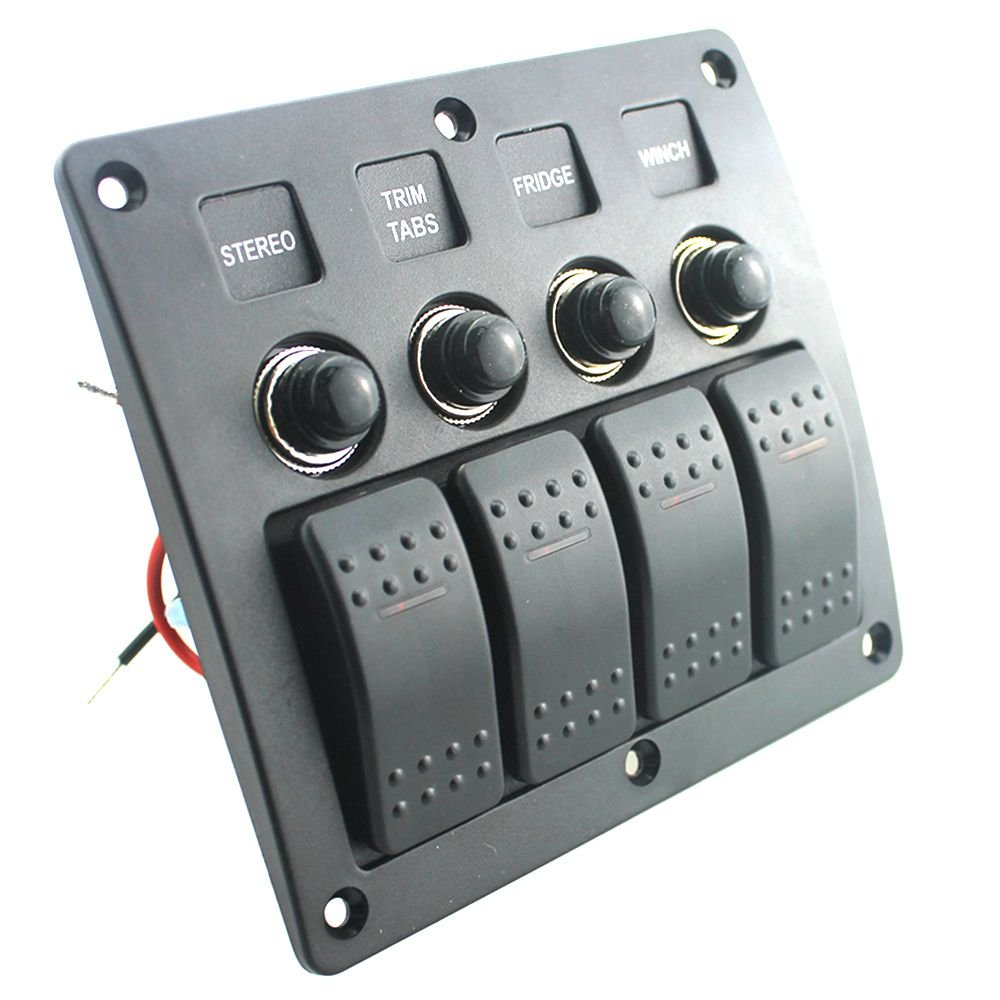 12v 24v On Off Rock Switch Panel For Boat Rv Yacht Red Dc Circuit Breaker Toggle Style Led Car Switches 4 6 8 Gang 4gang Swith Sports Outdoors