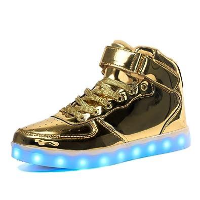 a13d9e60d00392 Maniamixx Kinder LED Leuchten Blinkende Schuhe für Mädchen und Jungen  High-Top Wiederaufladbare Turnschuhe mit