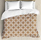 Ethnic Duvet Cover Set by Ambesonne, Thai Mosaic Art Culture Stylized Abstract Lines Dots Pattern Folk Asian Design, 3 Piece Bedding Set with Pillow Shams, Queen / Full, Redwood White