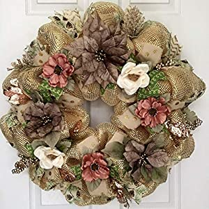 Gold and Taupe Floral Holiday Wreath Handmade Deco Mesh 82