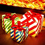 ATDAWN Set of 3 Lighted Gift Boxes Christmas