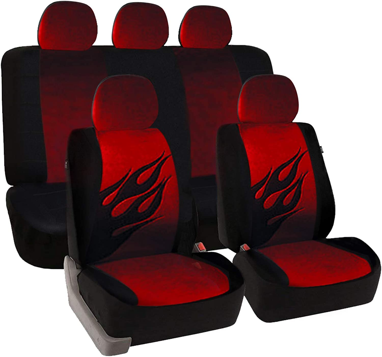 eSituro universal Auto Schonbezug Komplettset Sitzbez/üge f/ür Auto mit Flamme Muster schwarz//grau SCSC0031