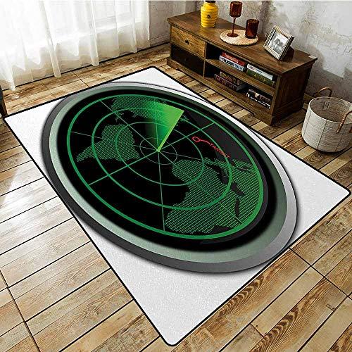 Pet Rug,Airplane Military Radar Screen Global Defense Danger Detecter Scanner Signal System Print,Large Area mat,3'11