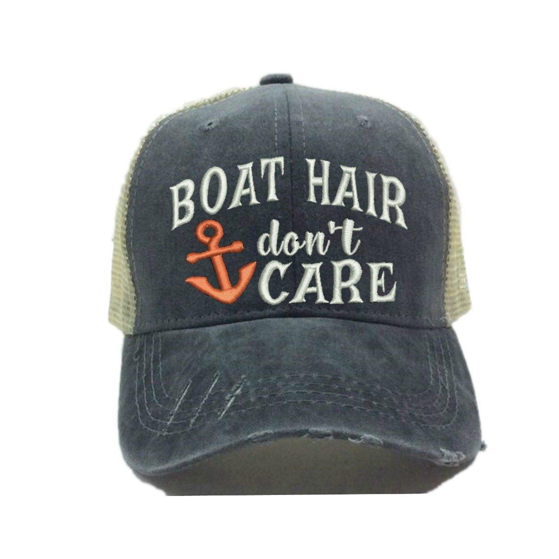 Women's Custom Trucker Hat Boat Hair Don't Care Distressed Funny Baseball Cap (Coral)