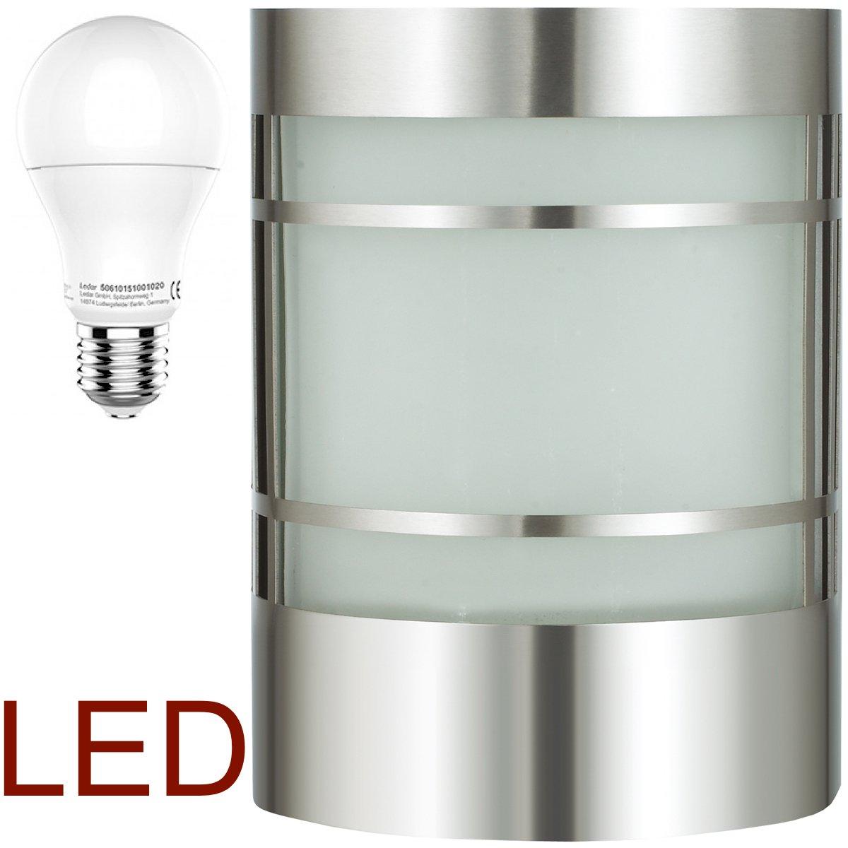 LED Wand-Außenleuchte mit & LED Leuchtmittel - Edelstahl Außenlampe Hoflampe Gartenlampe Gartenleuchte [Energieklasse A+] DBLV 12906