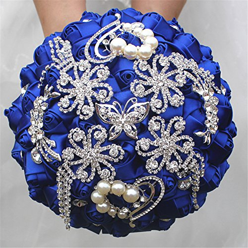 Romantic Wedding Bride Holding Bouquet Roses with Diamond Pearl Ribbon Valentine's Day Bouquet Confession 18CM (Royal Blue)