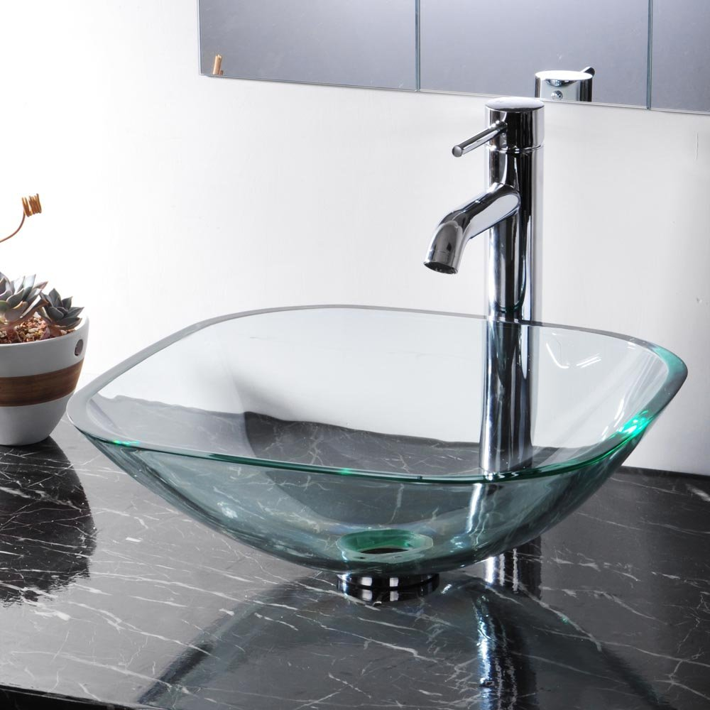Bathroom Tempered Glass Vessel Sink Natural Clear Square Shape ...