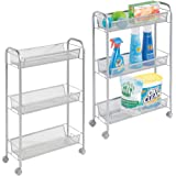 mDesign Portable Rolling Laundry Utility Cart Organizer Trolley with Easy-Glide Wheels and 3 Multipurpose Heavy-Duty Metal Me