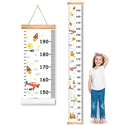 "MIBOTE Baby Growth Height Chart, Canvas and Wood Handing Removable Wall Ruler for Kids, Wall Decor (79"" x 7.9"", Cartoon Patterns): Home & Kitchen"