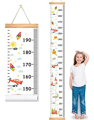 MIBOTE Baby Growth Height Chart Handing Ruler Wall Decor For Kids, Canvas  Removable Height Growth