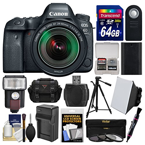 Canon EOS 6D Mark II Wi-Fi Digital SLR Camera & EF 24-105mm IS STM Lens with 64GB Card + Case + Flash + Battery & Charger + Tripod + Filters Kit by Canon