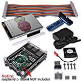 "Kuman Complete Starter Kit Model B B+ for Raspberry Pi 3 2 (8-Items) Ultimate Kits with WiFi 150Mbps 11n USB Adapter+3.5"" inches LCD 480x320 Touch Screen+ 9 Layers Case Box+5V 2A Charger/Adapter/Power Supply+GPIO Breakout Expansion Board SC04"