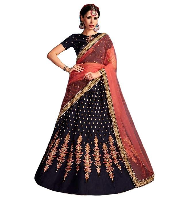 c2a8e8cf3f0 Lava Creation Women s Silk Embroidered Lehenga Choli (Colour - Navy Blue
