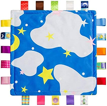 Starry Sky Colorful Ribbons Soft Baby Taggies Security Blanket Newborn Comforter with Sewn Silk Tags