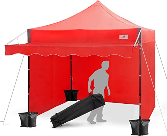 Amazon Com Finfree 10x10 Ft Pop Up Canopy Tent Commercial Instant Canopy With Awning Roller Bag 6 Walls And Weight Bags Red Garden Outdoor