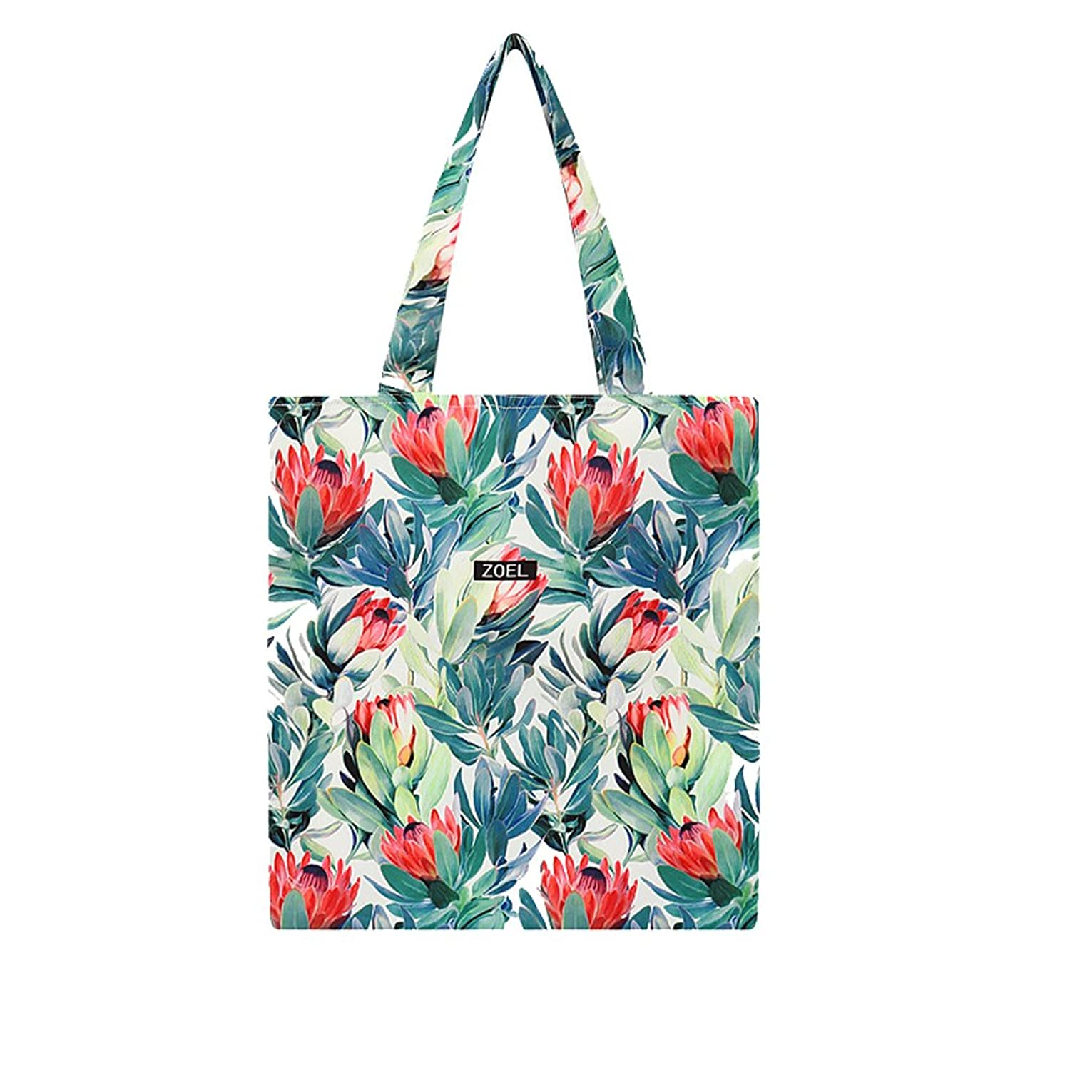 LucyGod Women Girl Polyester Canvas Shopping Handbag Flower-print Shoulder Tote Bags with Zipper Design