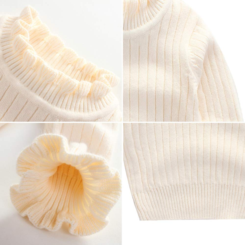 703dbf764f Amazon.com  WeddingPach Baby Girl Sweaters Infant Warm Combed Cotton  Sweatshirt Cable Knit Ruffles Turtleneck Pullover 2-6T  Clothing