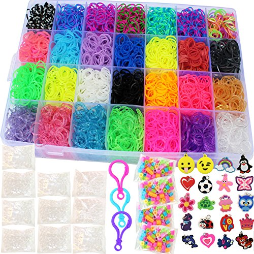 11,600+ Authentic Rainbow Mega Refill by Talented Kidz: Loom Organizer, 10,750 Premium Quality Rubber Bands in Over 30 Different Rainbow Colors, 3 Backpack Hooks, 30 Charms, 235 Beads, 550 Clips &More (Rubber Band Bracelets Kit)
