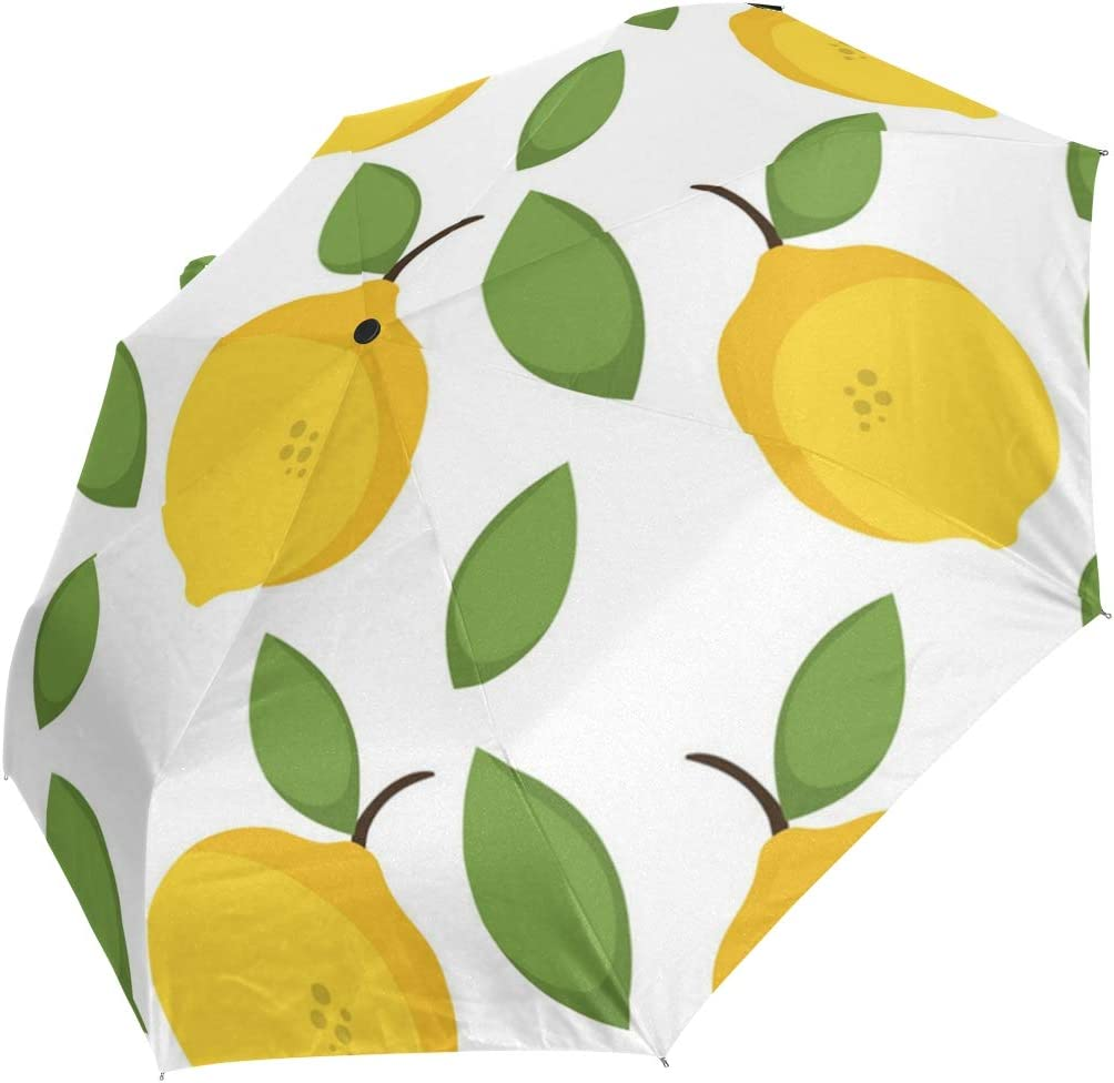 Lemons Decor And Green Leaf fashion print cute Windproof automatic tri-fold umbrella sun UV protection Sun umbrella