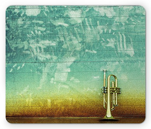 (Ambesonne Music Mouse Pad, Old Aged Worn Single Trumpet Stands Alone Against a Faded Wall Jazz Theme Photo, Standard Size Rectangle Non-Slip Rubber Mousepad, Sea Green Brown)