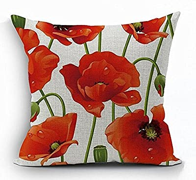 18 x 18 Inches Cotton Linen Square Decorative Throw Pillow Case Cushion Cover Red Poppy Flowers Gift Anniversary Day Present