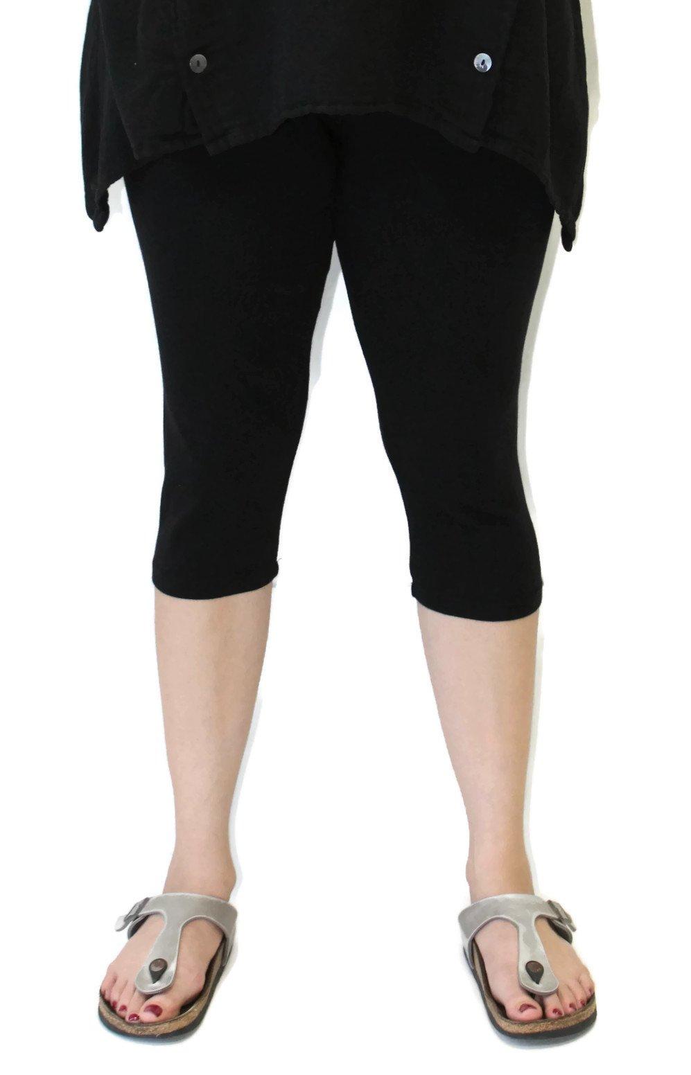 Prairie Cotton Women's Stretch Cotton Capri Leggings (XXL, Black)