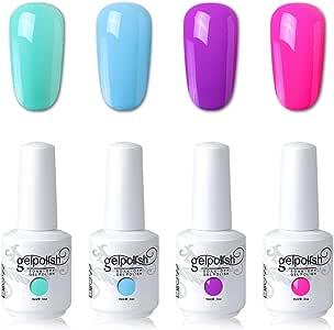 Elite99 UV LED Gel Nail Polish Varnish 15ML Soak off Nail Art Manicure Set 4 Colors with (20pcs Gel Remover Wraps) C153