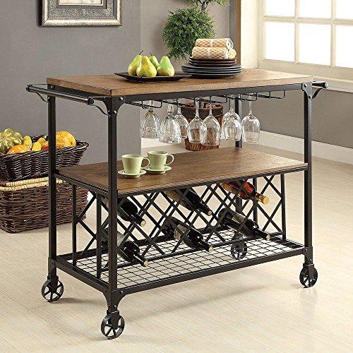 1PerfectChoice Silvia Industrial Kitchen Serving Cart Rolling Medium Oak Shelf Metal Wine Rack