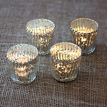 Luna Bazaar Vintage Mercury Glass Candle Holders (3-Inch, Caroline Design, Vertical Motif, Silver, Set of 4) - For Use with Tea Lights - For Parties, Weddings, and Homes - Mercury Glass Votive Holders