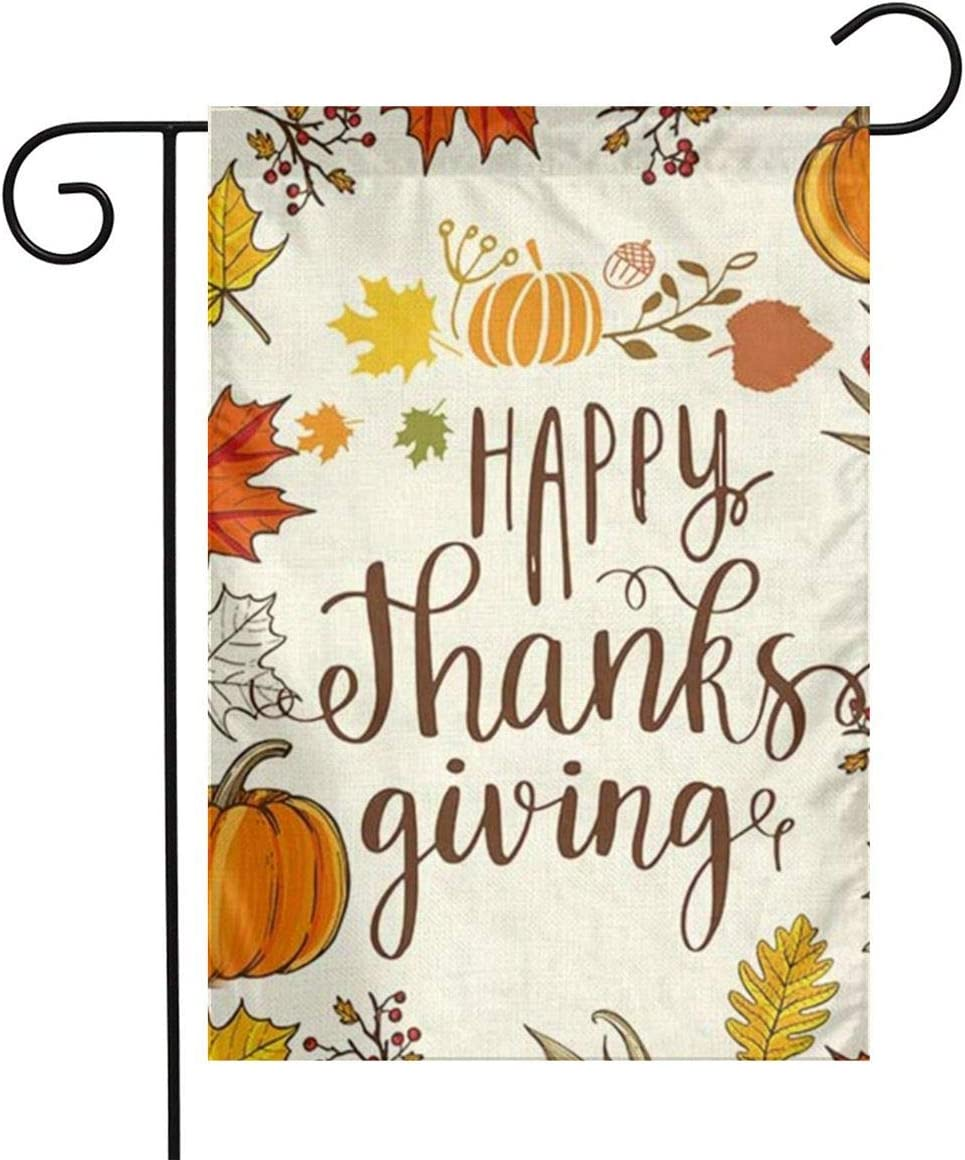 MSGUIDE Happy Thanksgiving Fall Garden Flag to The Lord Pumpkin Maple Leaf Yard Outdoor Decoration Small Flags for Home Lawn Farmhouse 12